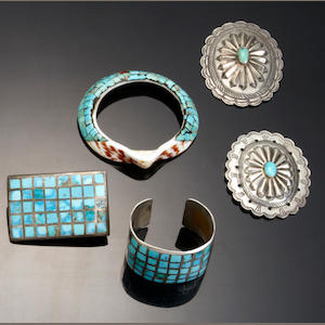 Five Southwest jewelry items