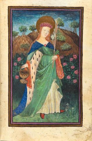ILLUMINATED MANUSCRIPT BREVIARY. Illuminated manuscript,