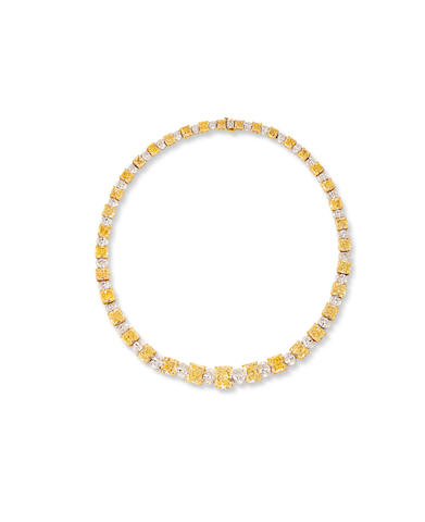 A fancy colored diamond and colorless diamond necklace