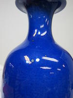 A powder blue glazed baluster vase  19th century