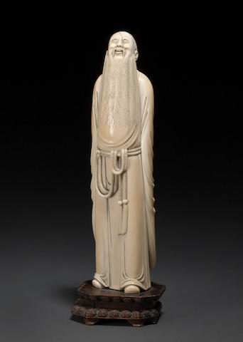 A tinted and carved ivory figure of a scholar Republic period