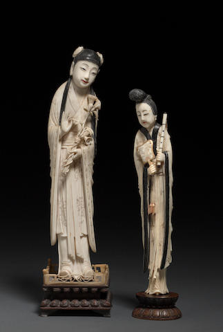 Two tinted and carved ivory figures of beauties  Late Qing dynasty