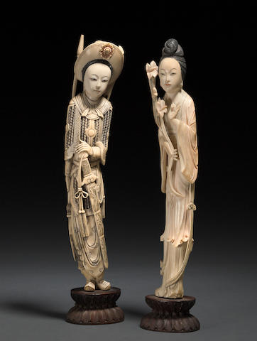 A pair of carved ivory figures of beauties