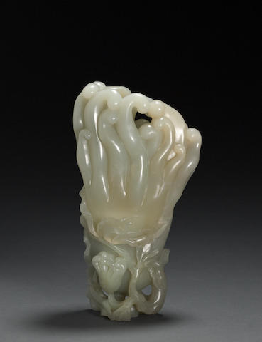 A carved jade brushpot Qing dynasty