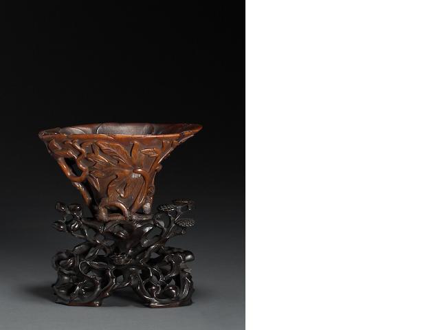 A rhinoceros horn floriform cup