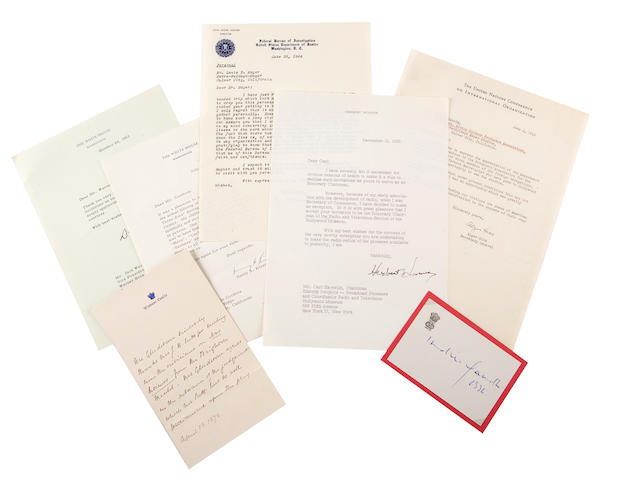 POLITICAL FIGURES. 2 binders containing approximately 80 manuscript examples of 20th century political and military figures,