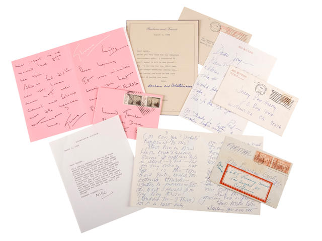MISCELLANEOUS AUTOGRAPHS. 9 binders containing approximately 243 manuscript examples of 20th century writers, actors, directors, performers, journalists, and other public figures,