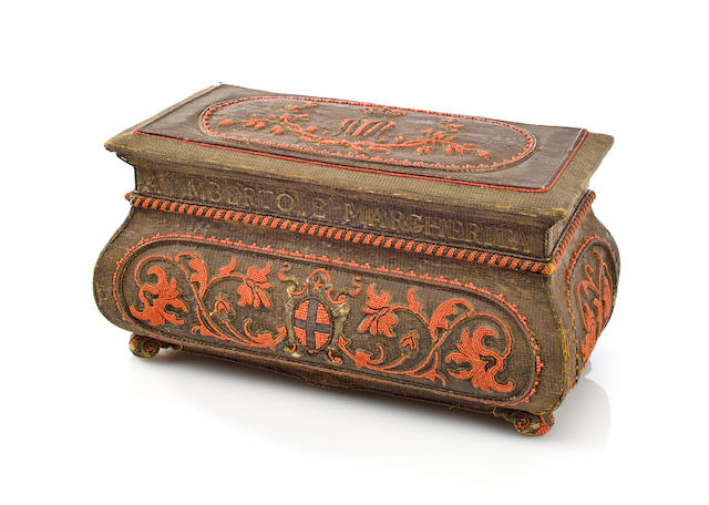 A Royal Italian embroidered and Trapani coral casket presented to Margherita, Queen of Italy (1851-1926) to commemorate her silver wedding anniversary Rome, 1893