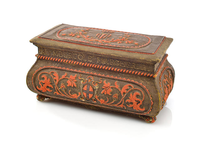 A Royal Italian embroidered and Trapani coral casket presented to Queen Margherita, Queen of Italy (1851-1926) to commemorate her silver wedding anniversary<br>Rome, 1893