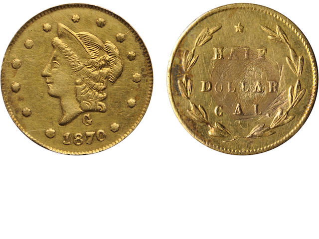 1870 50C Liberty Round, BG-1024, Low R.4