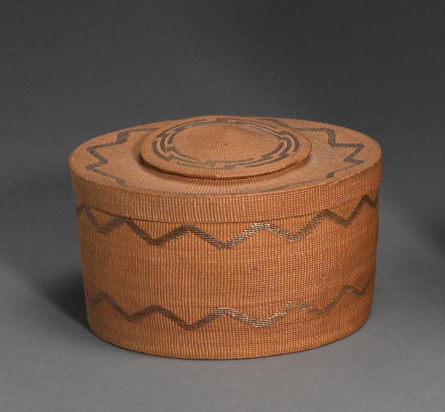 A Tlingit polychrome lidded rattletop basket