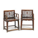 A pair of huanghuali rose chairs, Meiguiyi 18th century