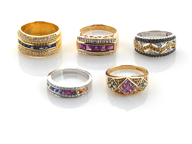 A group of five gem-set and diamond rings in 14k (4) and 18k (1) gold, 36.2g