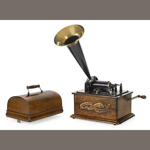 An Edison Standard Phonograph in oak case. early 20th century