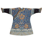 A Chinese embroidered silk dragon robe 19th Century