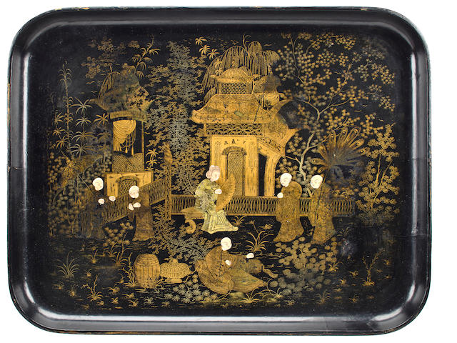 Chinese black and gold lacquer tray