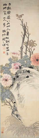 Zhao Zhiqian (1829-1884)  Flowers and rock