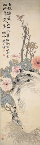 Zhao Zhiqian (1829-1884)  Flowers and rock