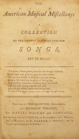 STAR-SPANGLED BANNER. The American Musical Miscellany: A Collection of the Newest and Most Approved Songs, Set to Music. Northampton, MA: Andrew Wright, [1798].