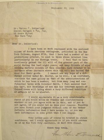 """ROOSEVELT, FRANKLIN DELANO. 1882-1945. Typed Letter Signed (""""Franklin D. Roosevelt""""),"""