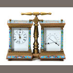 A bronze and enamel carriage clock and weather station