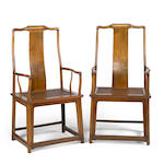 A pair of huanghuali arm chairs Republic period
