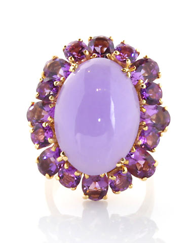 A lavendar jade, amethyst and 18k gold ring