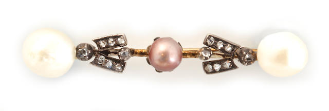 A colored and baroque cultured pearl, diamond and silver-topped 14k gold bar brooch