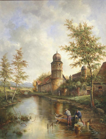 Continental School, 20th Century Villagers by a stream 24 x 29in (61 x 73.5cm)