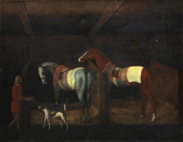English School, 20th Century Two hunters and their groom in a barn 28 x 36in (71 x 91.5cm)