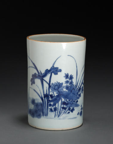 A blue and white porcelain cylindrical brush pot  Transitional to Kangxi period