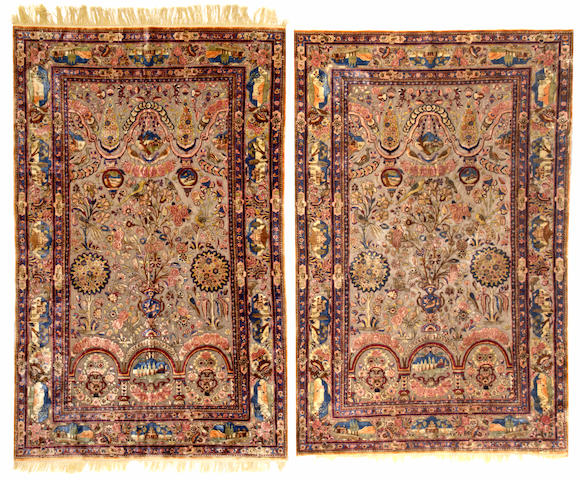 A pair of Souf Kashan rugs  Central Persia size approximately 4ft. x 6ft. 4in.