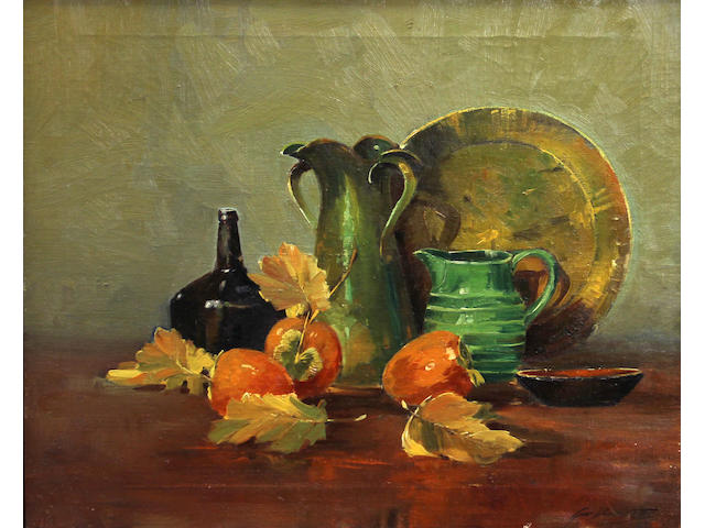 George Demont Otis (American, 1879-1962) Still life with persimmons and jugs 20 x 24in