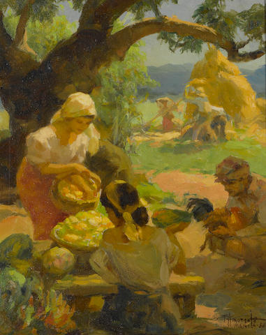 Fernando Amorsolo Y Cueto (The Philippines 1892-1972) Under The Mango Tree