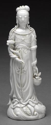 A Dehua porcelain standing figure of Guanyin Late Qing/Republic period
