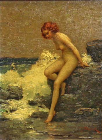 Joseph Tomanek (American, 1889-1974) Nude on a rocky coast 14 x 10in