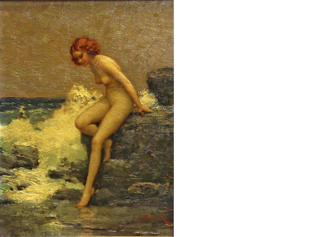 J. Tomanek, Nude sitting on rocks, o/wood, 14 x 10in