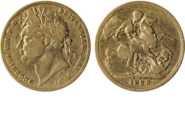 Great Britain, George IV, Sovereign, 1823