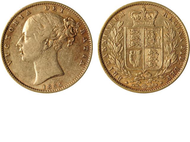 Great Britain, Victoria, Sovereign, 1854 WW incuse