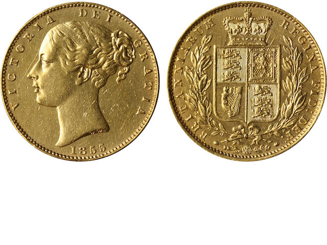 Great Britain, Victoria, Sovereign, 1855 WW incuse