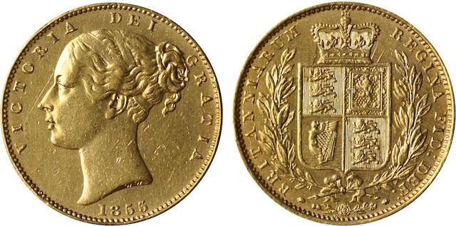 Great Britain, Victoria, Sovereign, 1855 WW incuse