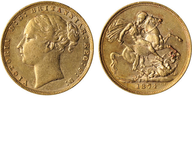 Great Britain, Victoria, Sovereign, 1874