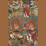 A Tibetan Thangka mounted in a brocade silk frame on a silk board depicting three dietie1