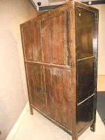 A large Chinese double door painted cupboard