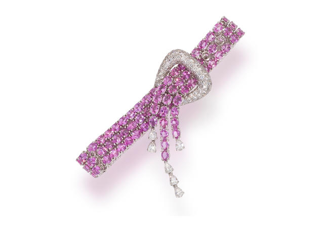 A pink sapphire and diamond bracelet, Tiffany & Co.