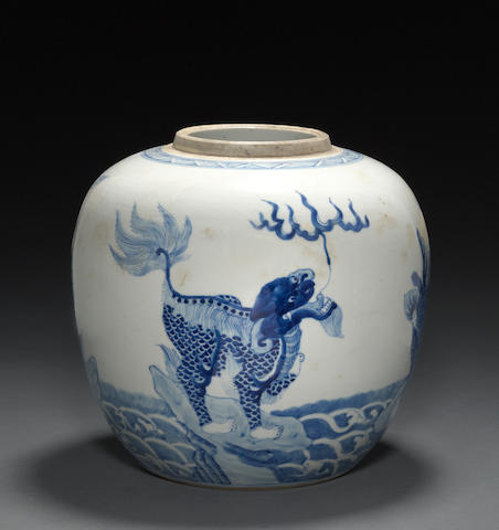 A blue and white porcelain jar Kangxi mark and period