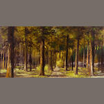 Bill Shaddix (American, born 1931) Path through a forest 24 x 48in