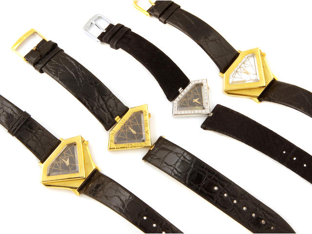 A collection of four 18k gold, diamond and leather quartz wristwatches,