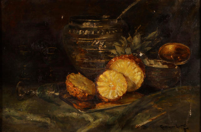 Continental School, 19th Century A still life with a pineapple and tureens on a table 19 1/2 x 30in