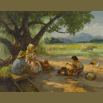 Fernando Amorsolo Y Cueto (The Philippines 1892-1972) Noonday Meal